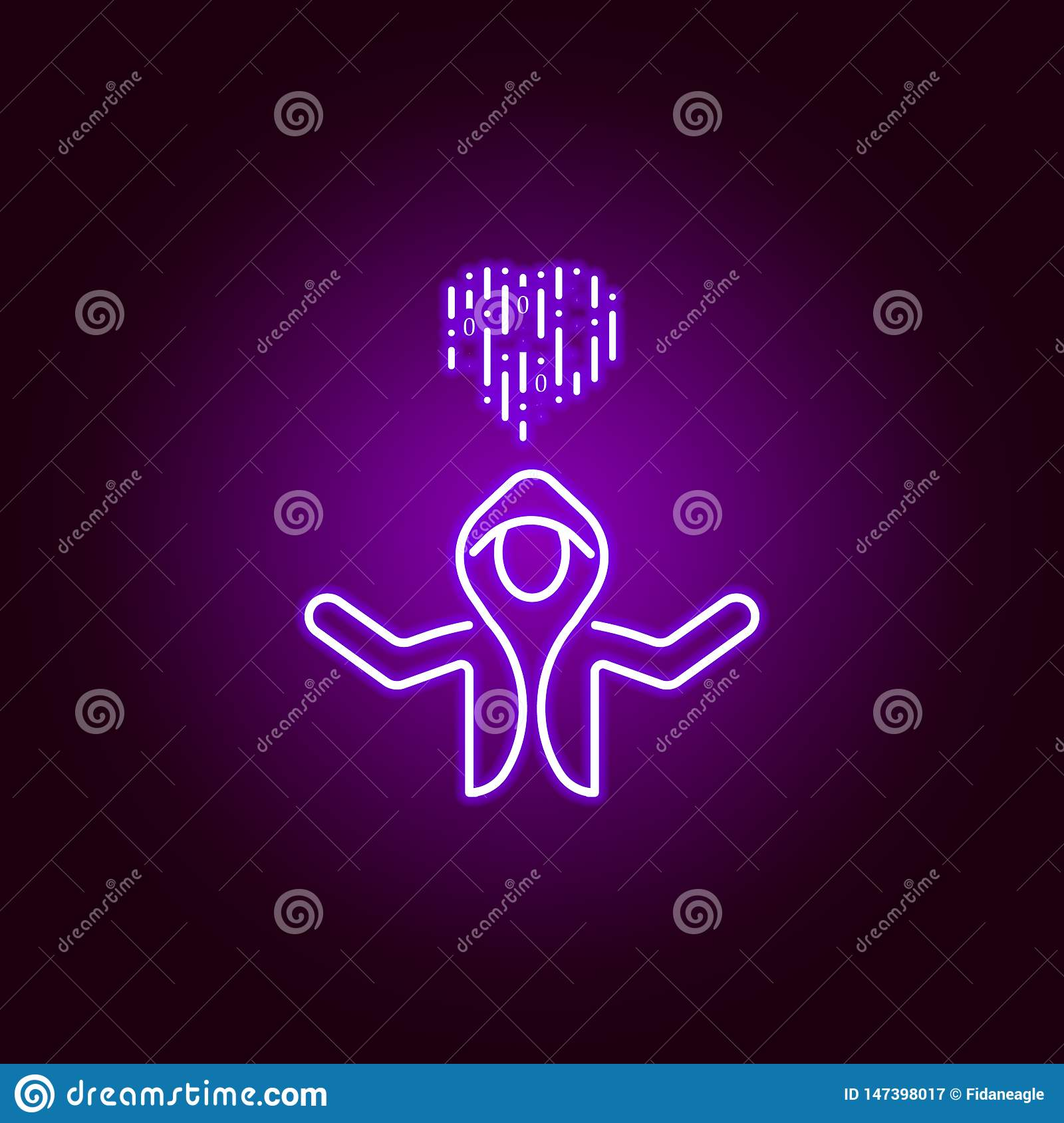 Hacker Hacking Icon In Neon Style Can Be Used For Web Logo Mobile App Ui Ux Stock Vector Illustration Of Character Malware 147398017
