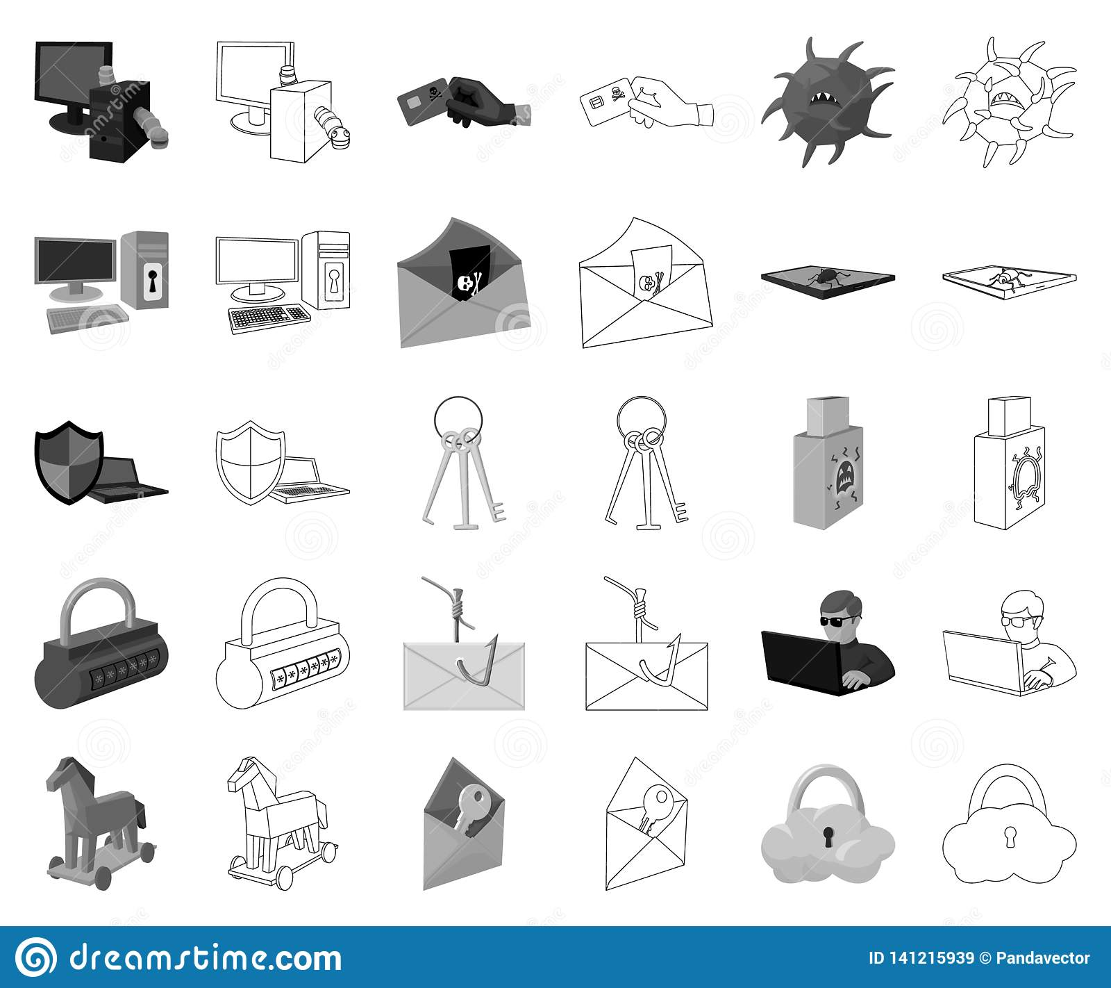 Hacker and hacking monochrome,outline icons in set collection for design. Hacker and equipment vector symbol stock web