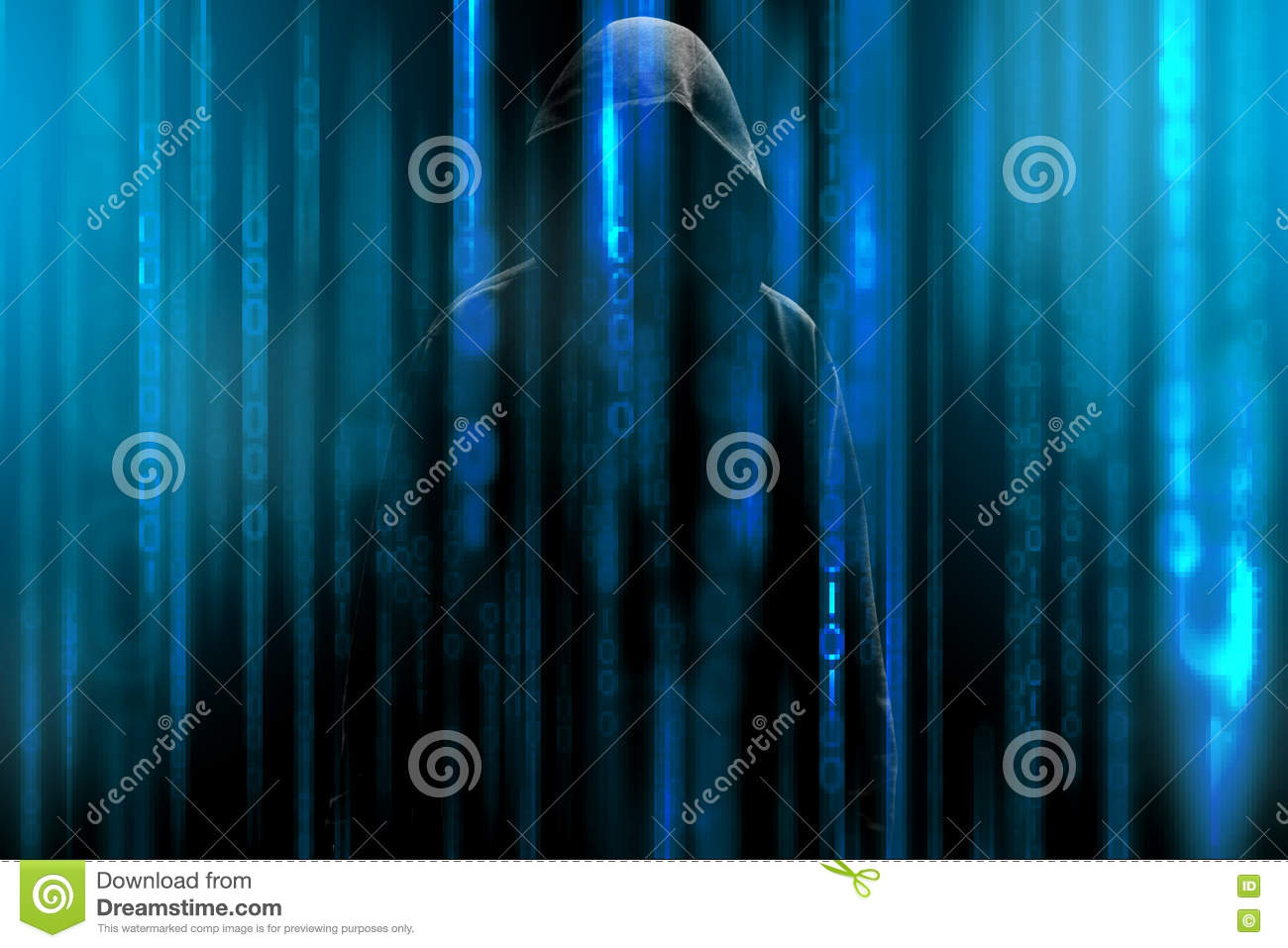 Hacker with a hood and blue binary code matrix. Hacking confidential secret data.