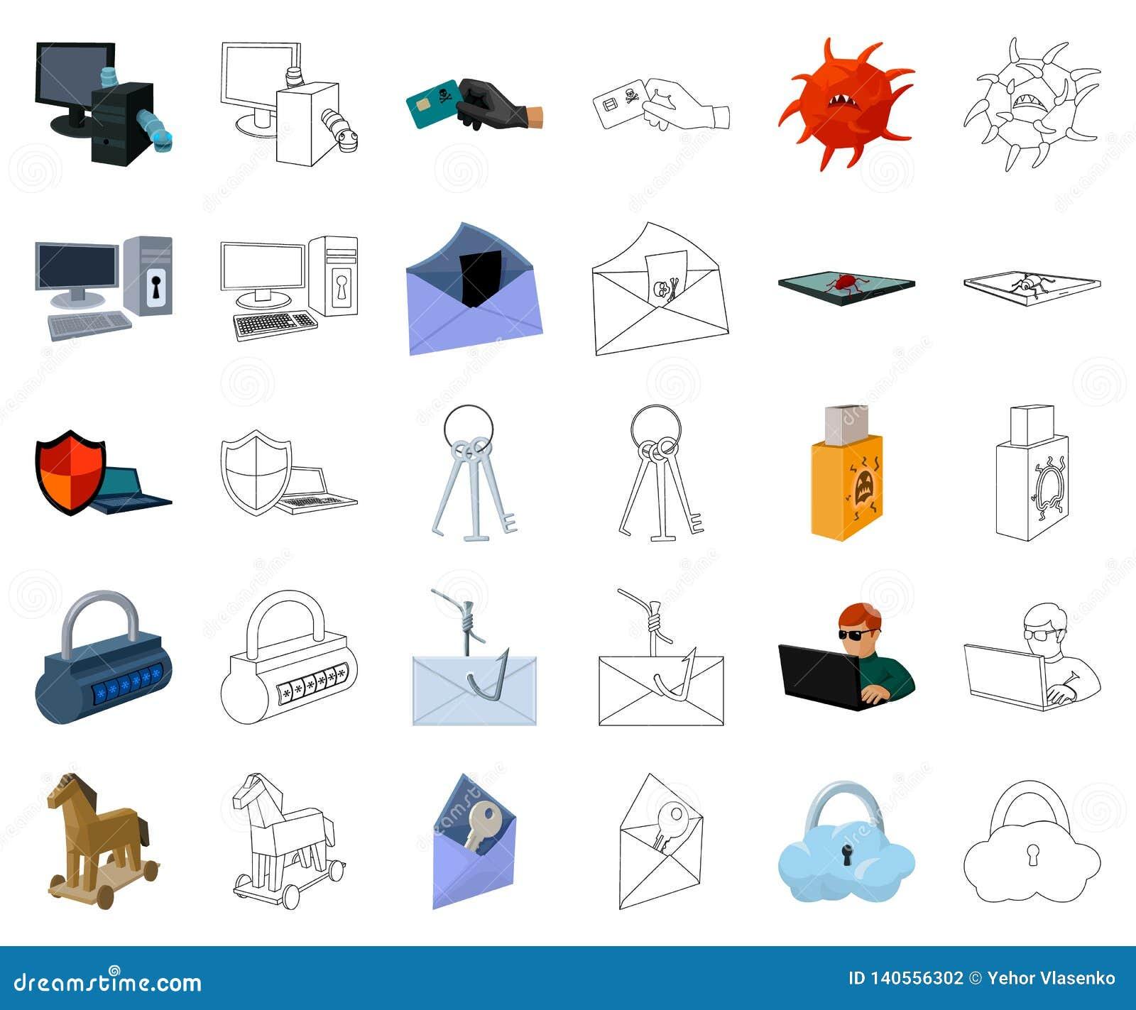 Hacker i siekać kreskówka, kontur ikony w ustalonej kolekcji dla projekta Hackera i wyposażenia symbolu zapasu wektorowa sieć