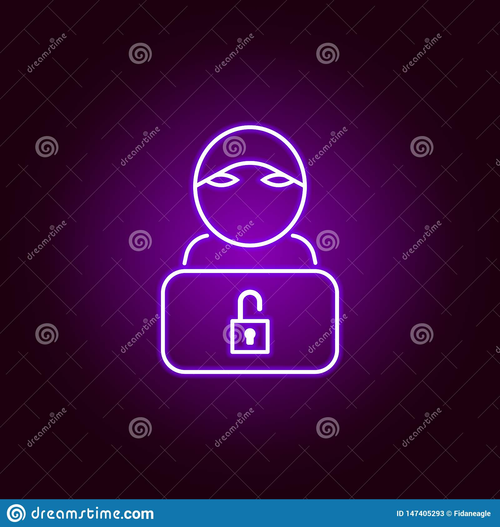 Hacker Hacker Icon In Neon Style Can Be Used For Web Logo Mobile App Ui Ux Stock Vector Illustration Of Password Hood 147405293