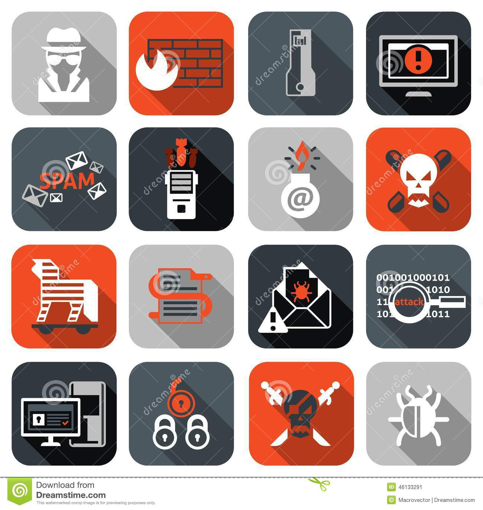 Hacker Icons Set Flat Stock Vector - Image: 46133291
