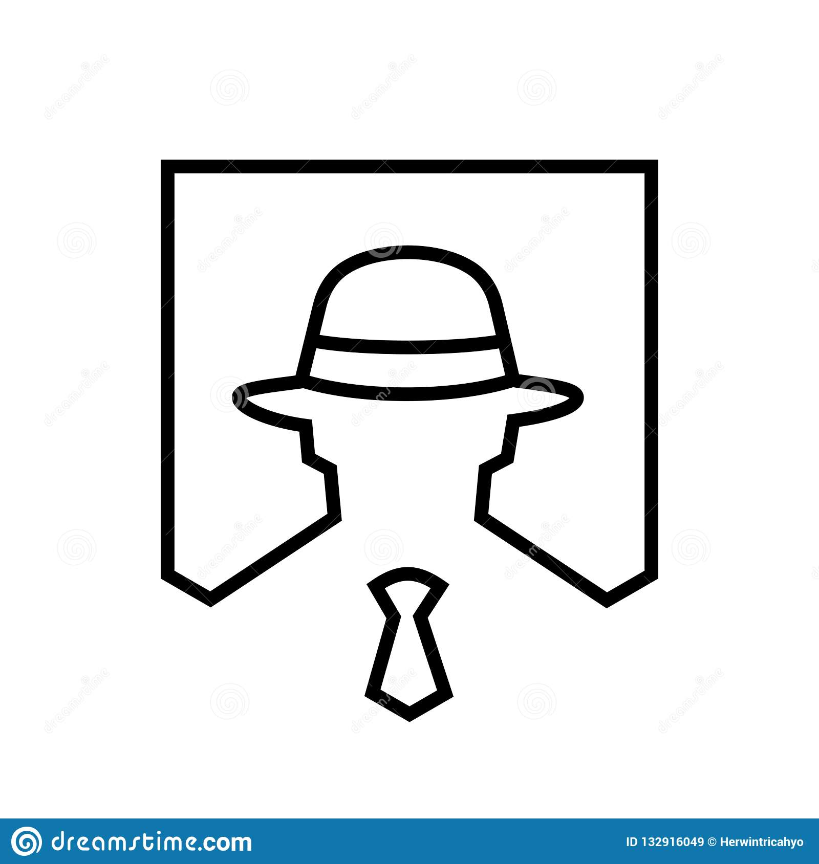 a969e8c2 Hacker Logo Icon, Lineart Style Illustration Stock Vector ...