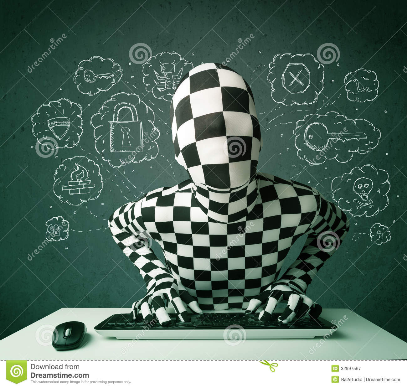 hacker in mask morphsuit with virus and hacking thoughts