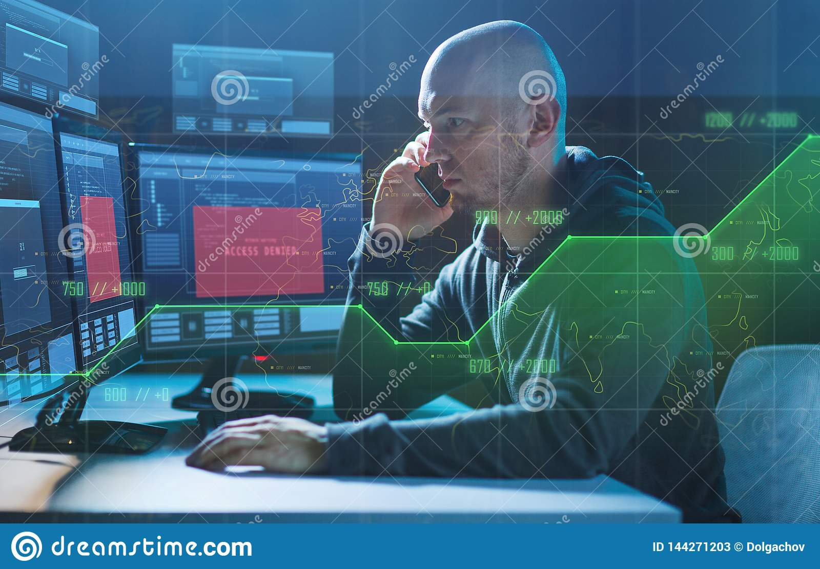 Hacker With No Access On Computer Calls On Cell Stock Image