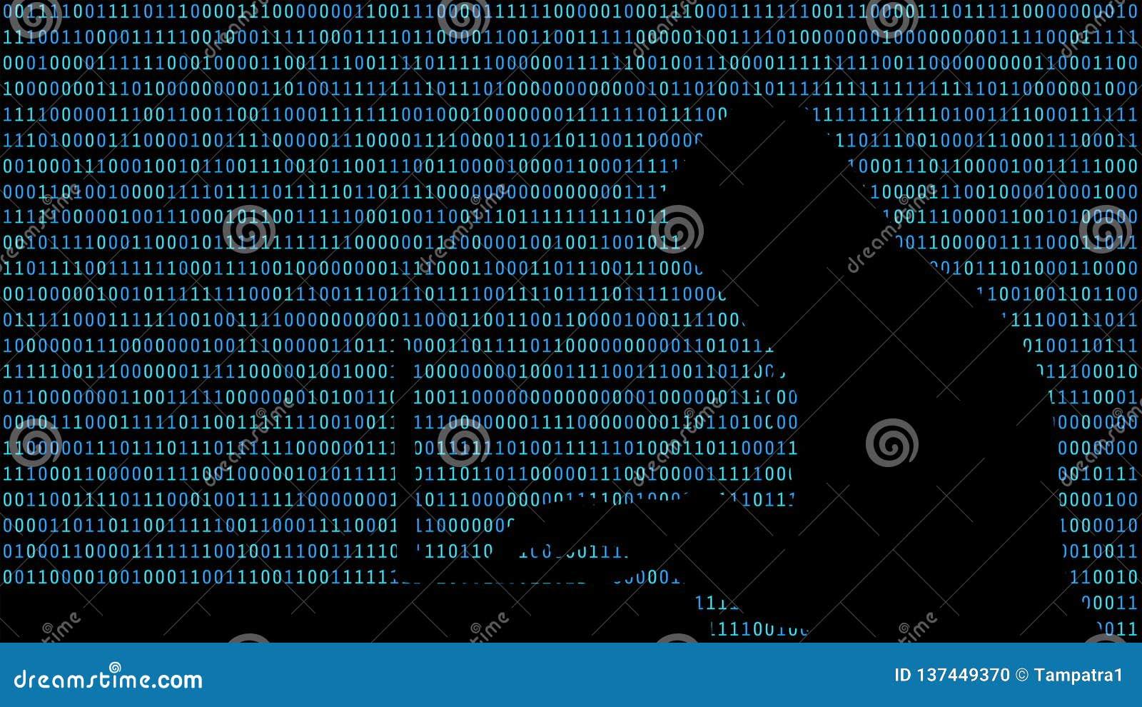 Hacker que datilografa em um portátil com 01 ou em números binários no tela de computador na matriz do fundo do monitor, código d