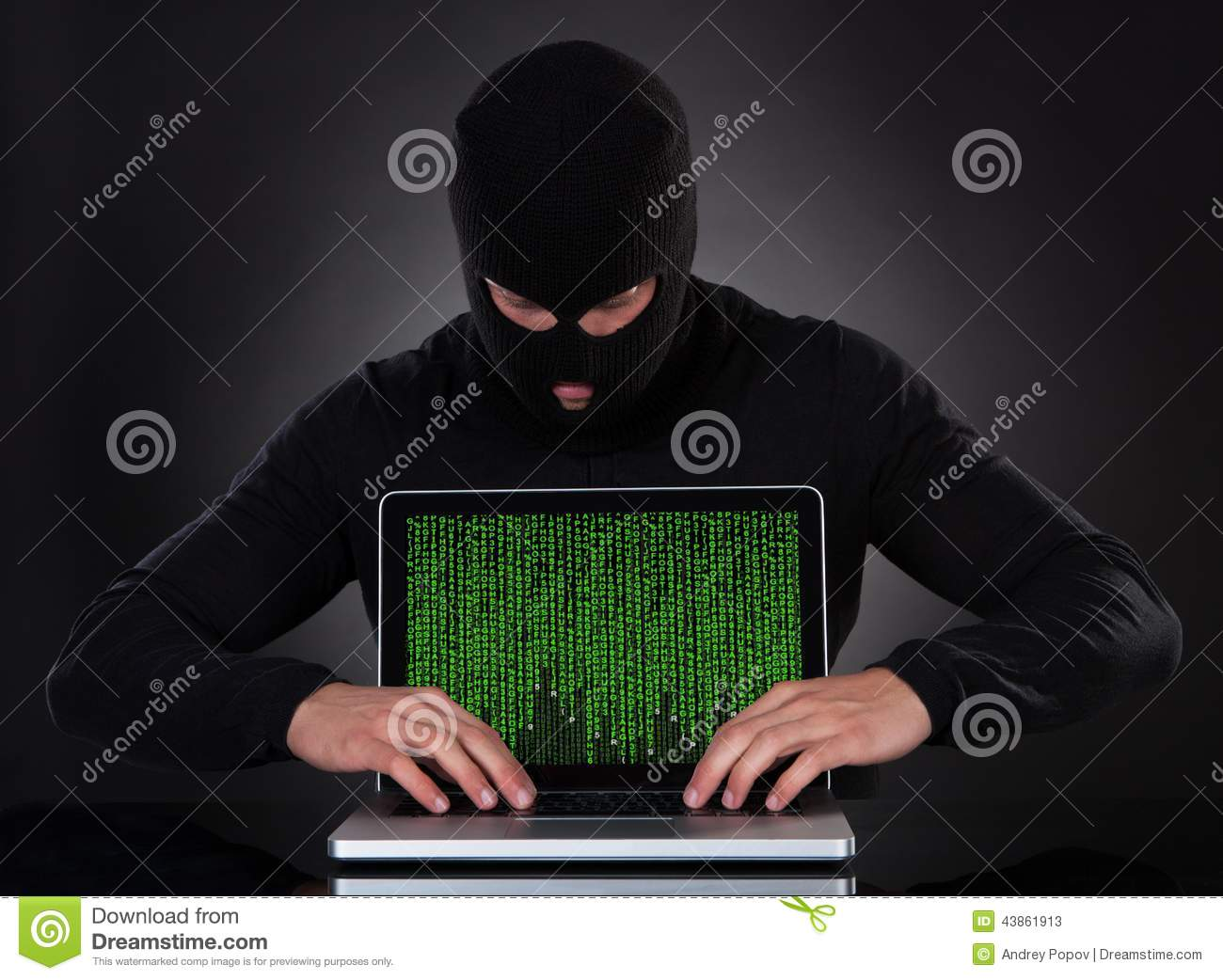 Hacker Stealing Data Of A Laptop Computer Stock Image ...