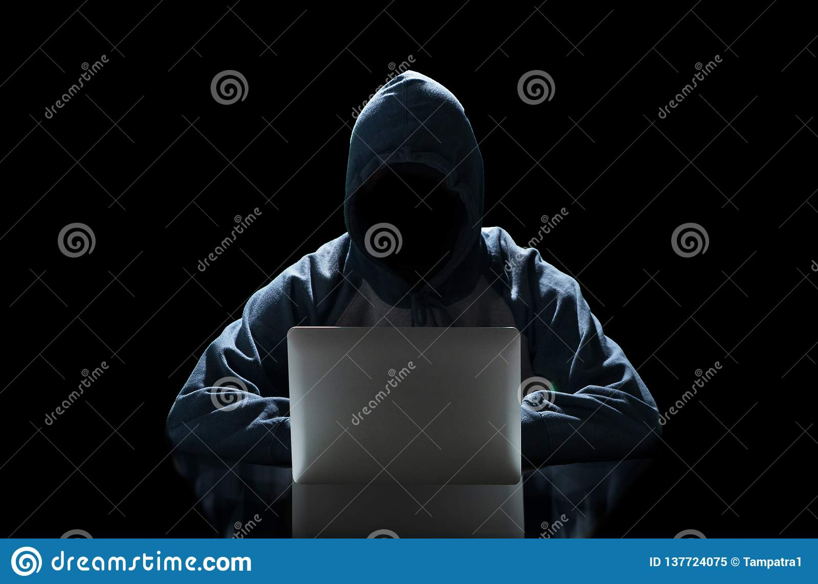 Hacker typing on a laptop isolated on black background with a computer monitor background matrix, Digital data code in security