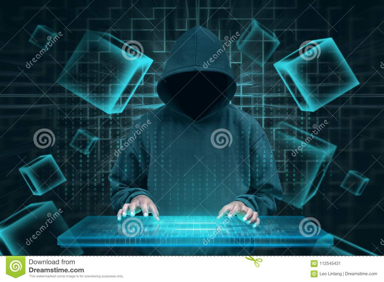 Hacker with virtual keyboard trying to hack blockchain security royalty free stock photo ccuart Gallery