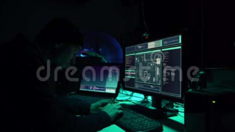 Hackers making cryptocurrency fraud using virus software and computer interface. Blockchain cyberattack, ddos and. Malware concept. Underground office stock video footage