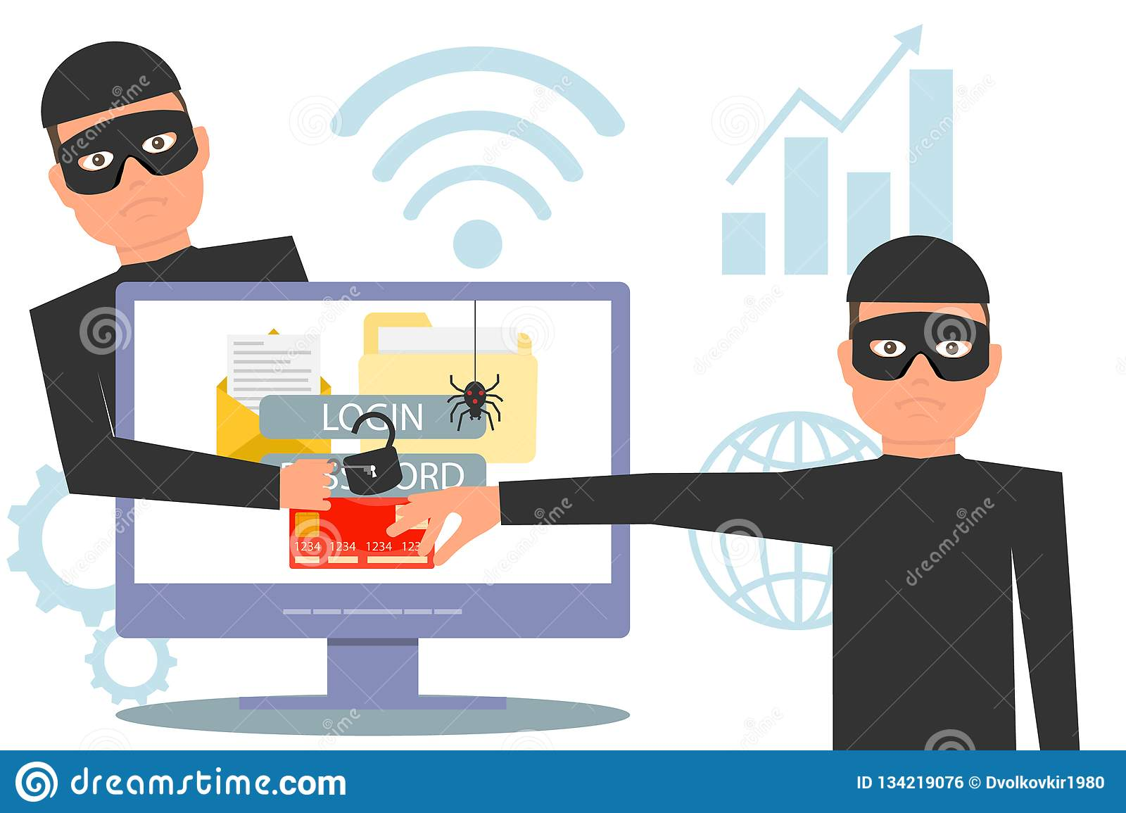 Hackers steal information. Hacker stealing money and personal information. Hacker unlock information, steal and crime computer dat