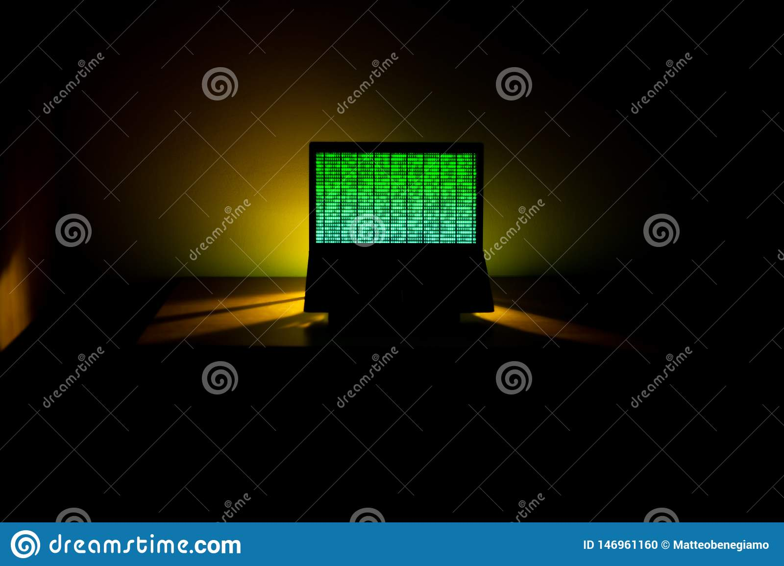 Hacking. Computer Data Processing. Binary Code on the Screen.