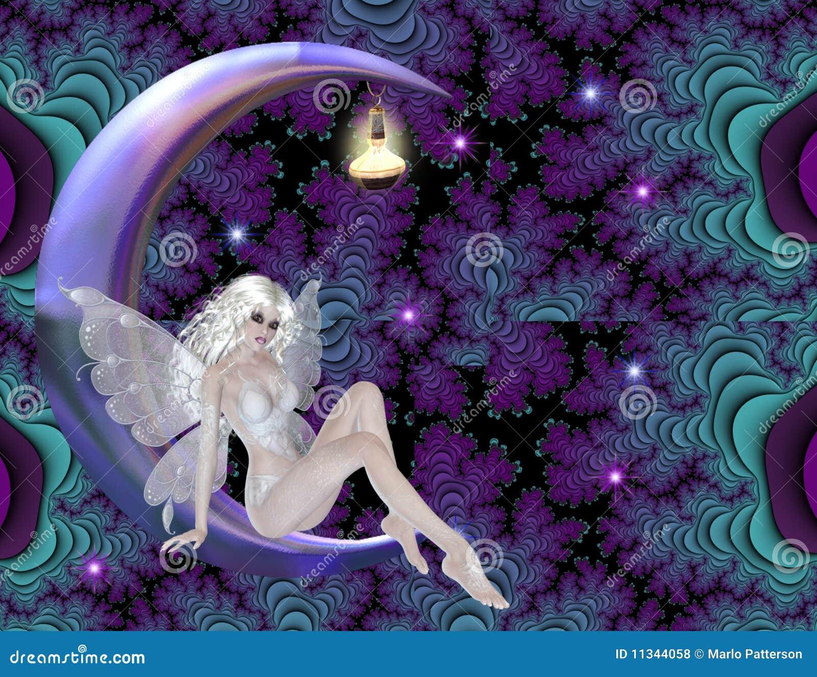 Hada en fondo púrpura de la luna