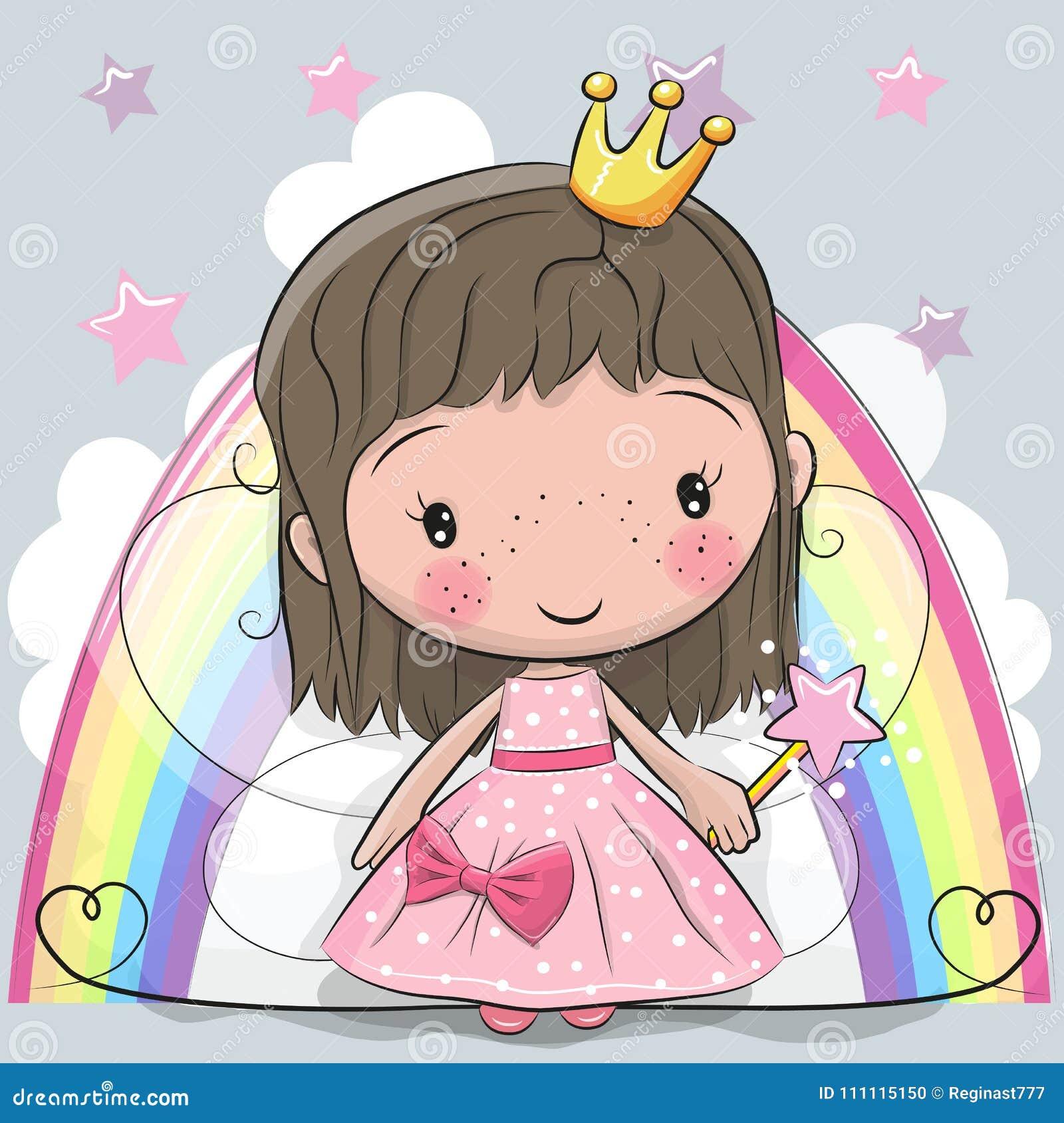 Hada linda de la princesa del cuento de hadas de la historieta