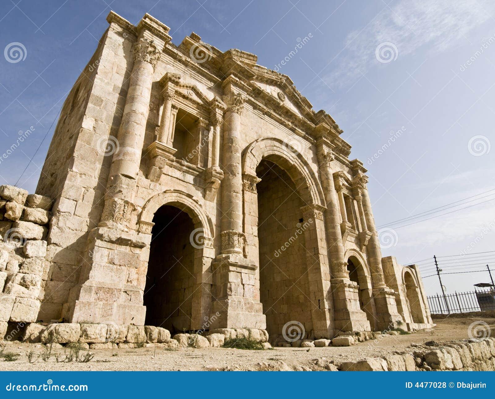 Hadrian Arch Of Triumph, Jerash Royalty Free Stock Photos ...