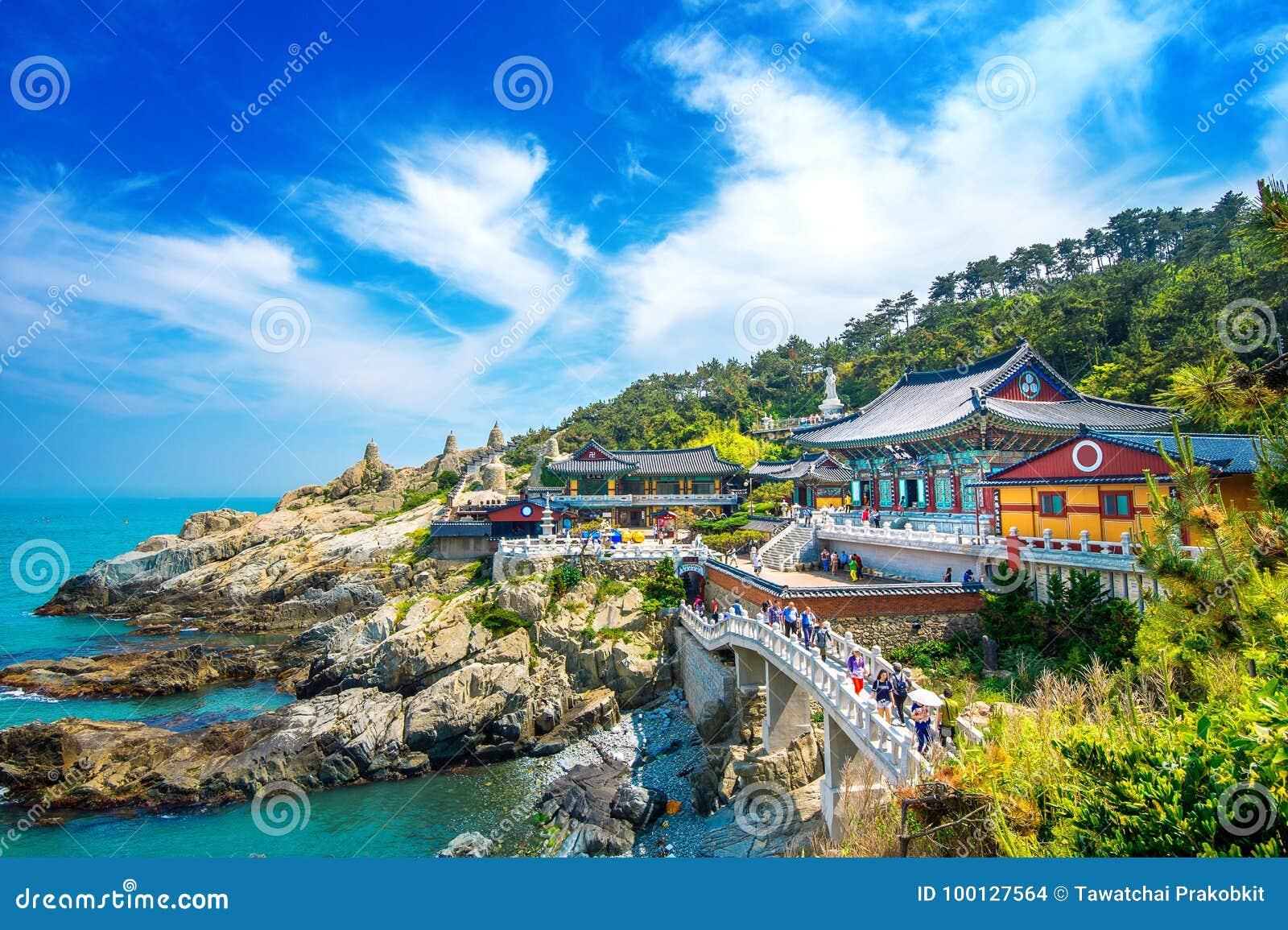 Haedong Yonggungsa Temple and Haeundae Sea in Busan, Buddhist temple in Busan, South Korea