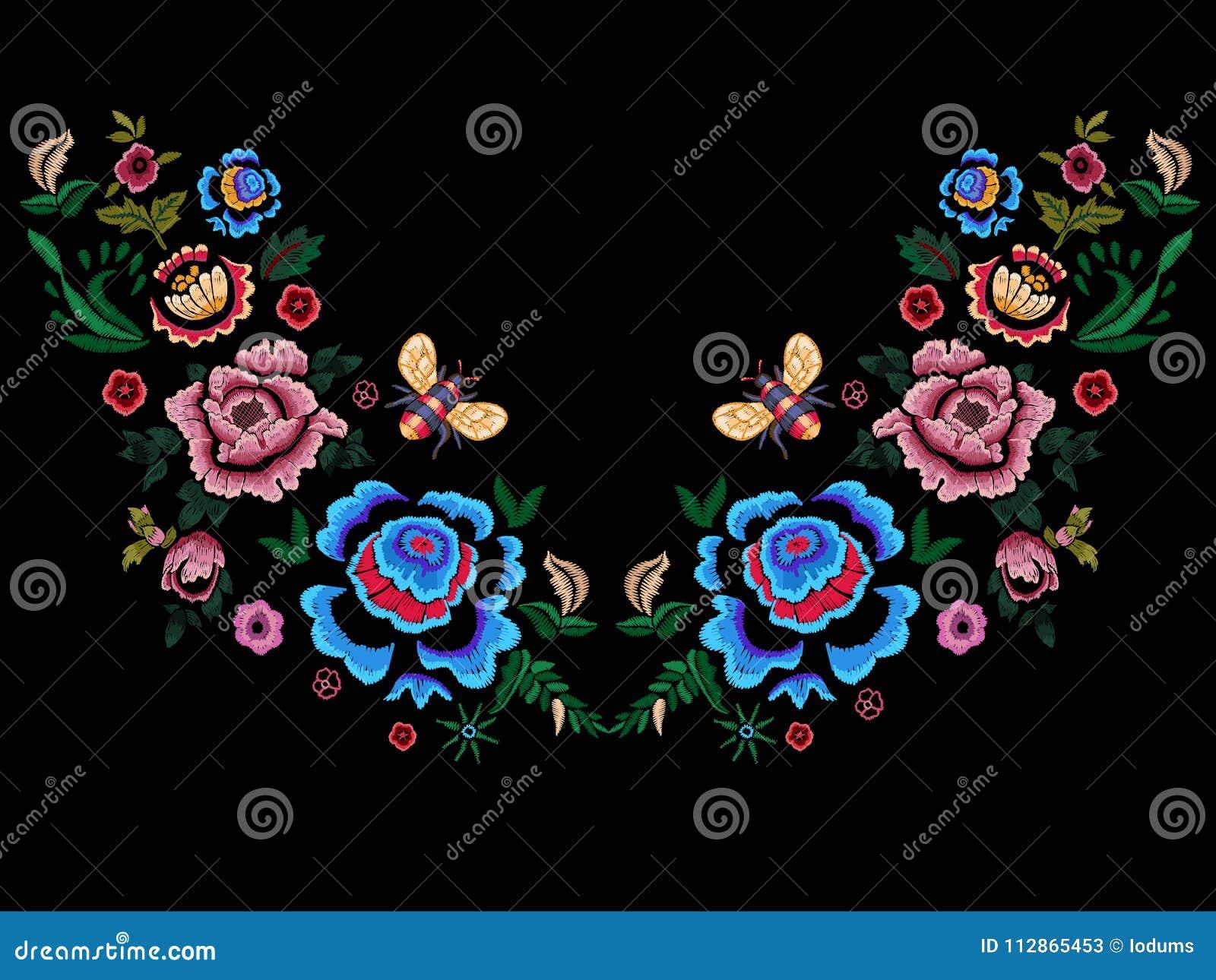 Hafciarski ludowy neckline wzór z kwiatami i pszczołą
