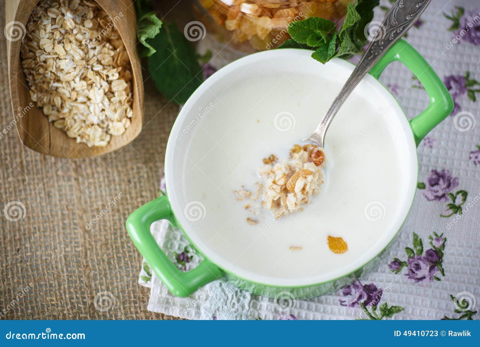 Download Hafermehl Mit Milch Und Rosinen Stockbild - Bild von gesund, nahrung: 49410723