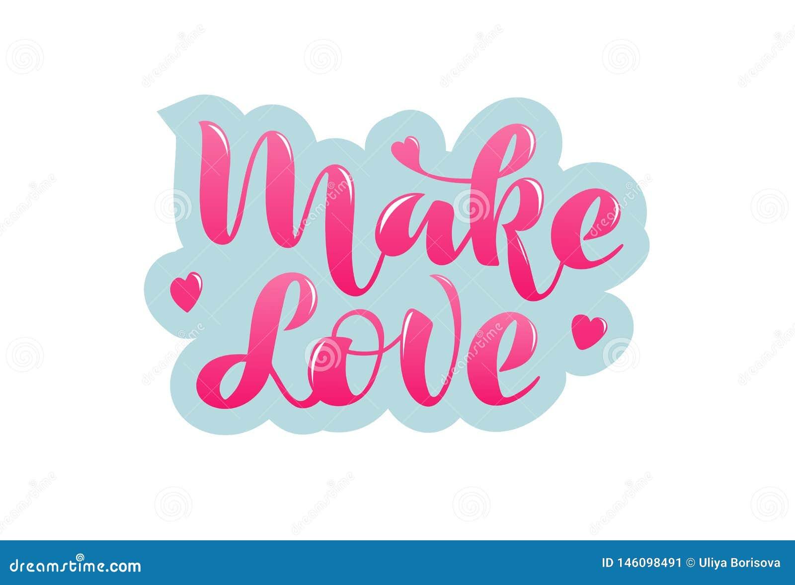 Haga amor la frase manuscrita con poner letras de los corazones