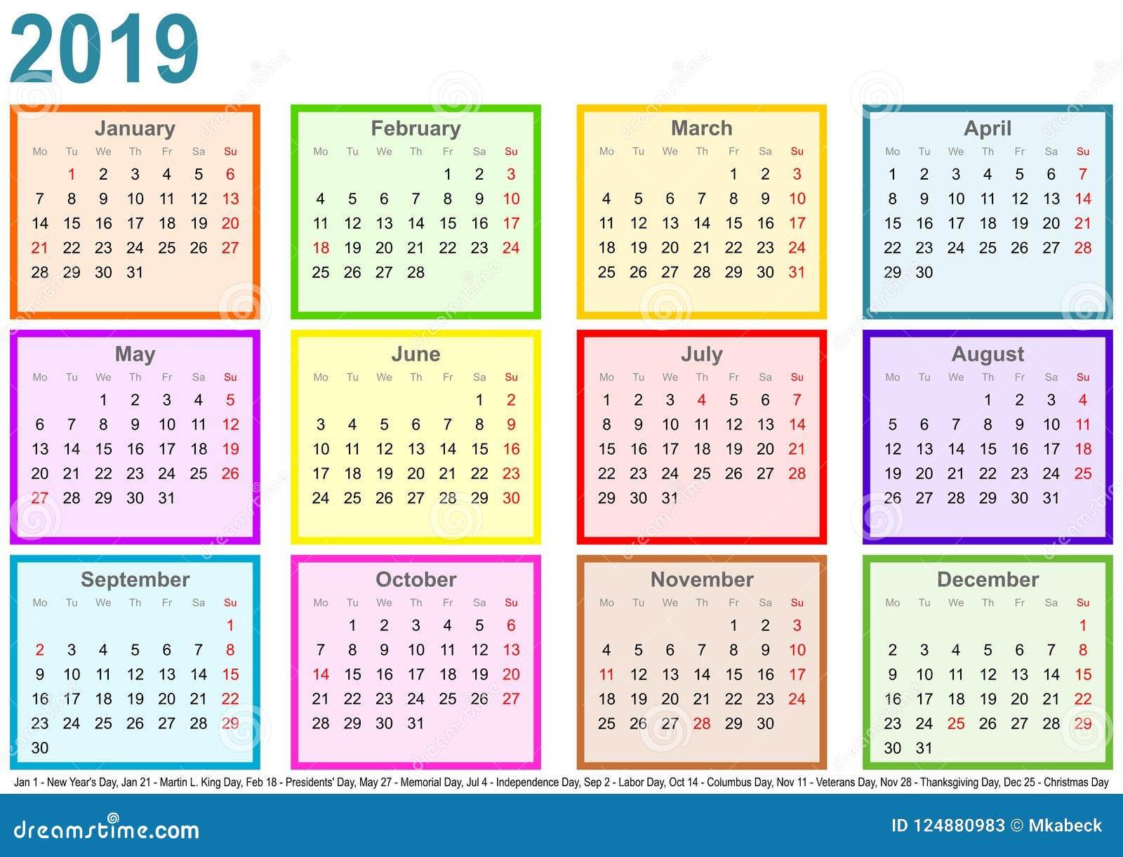 Haga Calendarios 2019 Cada Meses De Diferente Coloreó Los E E U U Cuadrados Ilustración Del Vector Ilustración De Vistazo Anual 124880983
