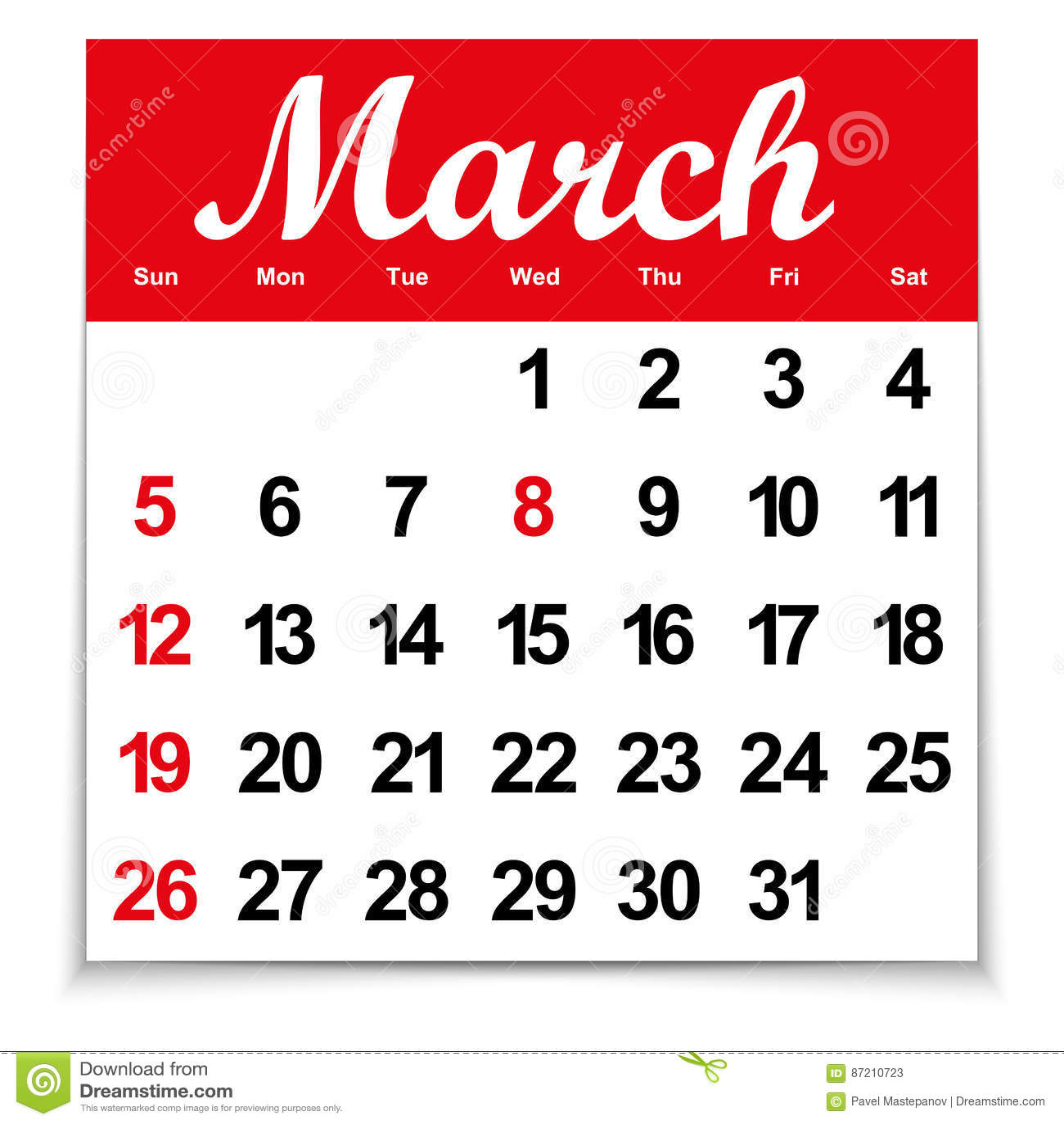 Haga Calendarios 2017 Con El Mes De Los Dias De Marzo De La Semana Y