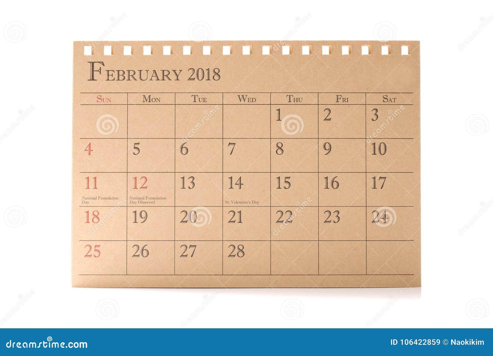 44a9c9ab1c4db Planificador del calendario de Brown o del 2018 arreglo del horario de  febrero en el fondo