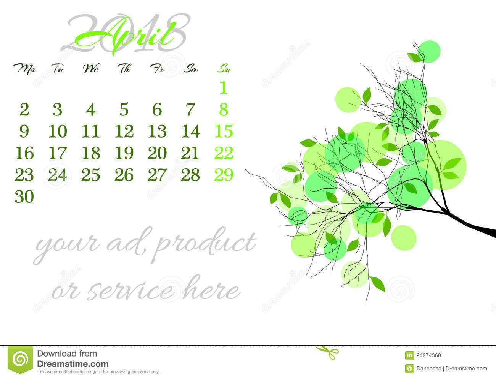 183583ee6 Haga Calendarios La Hoja Para El 2018 De Abril Con La Rama De árbol ...