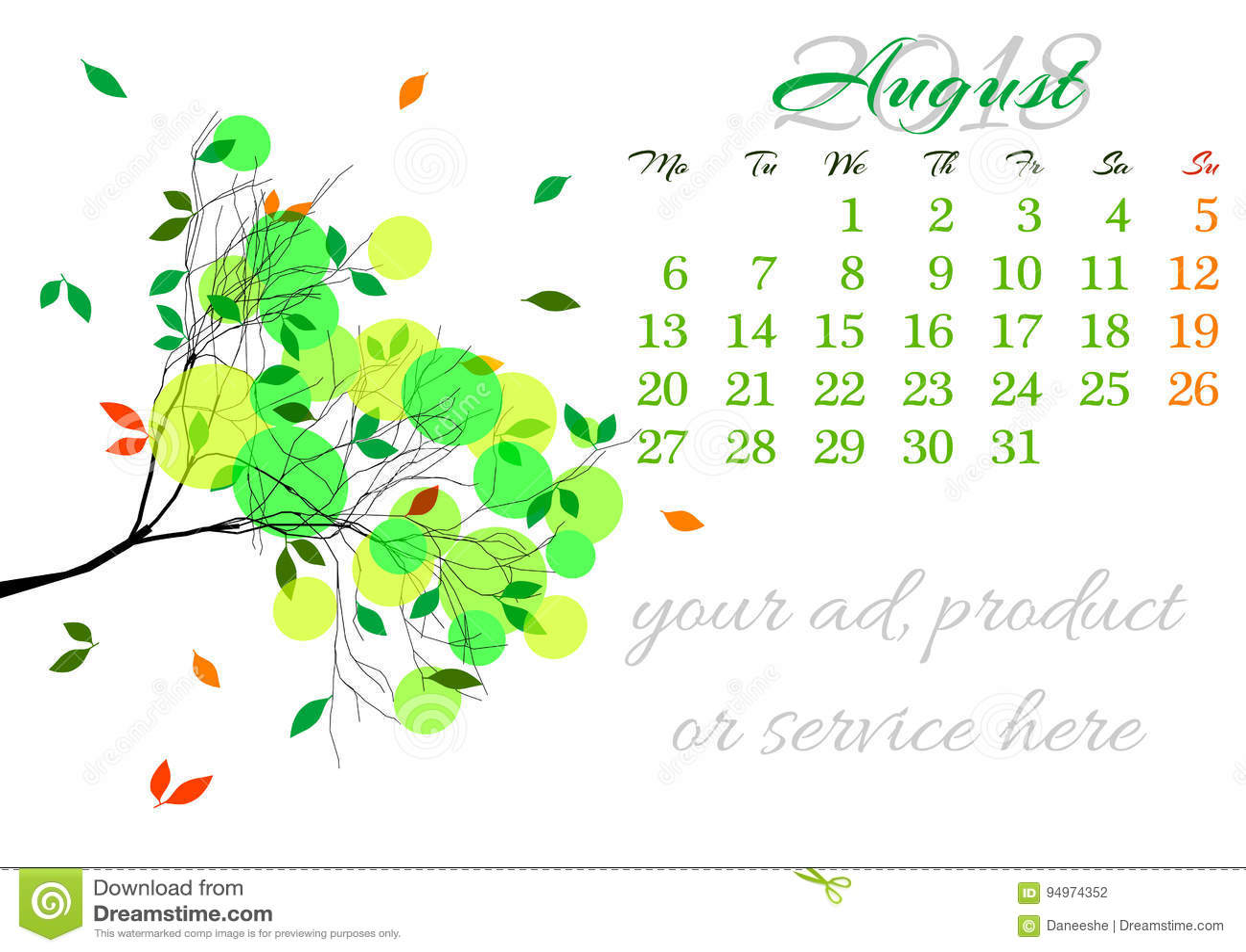 5a7cb4d3f Haga Calendarios La Hoja Para El 2018 De Agosto Con La Rama De árbol ...