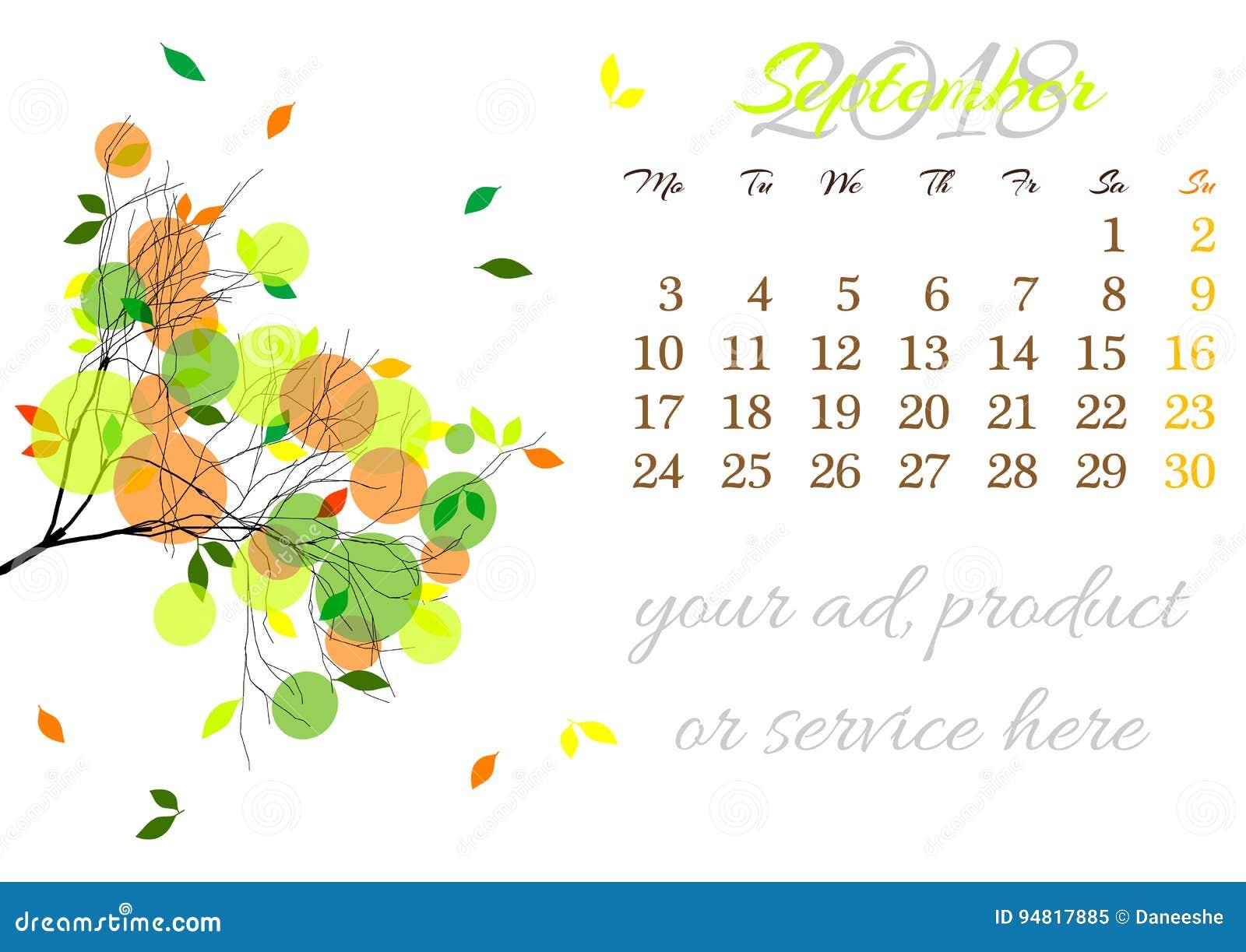 9933ac2a3 Haga calendarios la hoja para el 2018 de septiembre con la rama de árbol