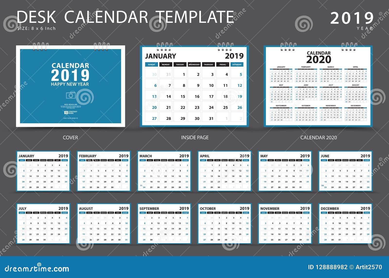 Haga calendarios 2019, plantilla del calendario de escritorio, sistema de 12 meses, planificador, comienzo de la semana el doming