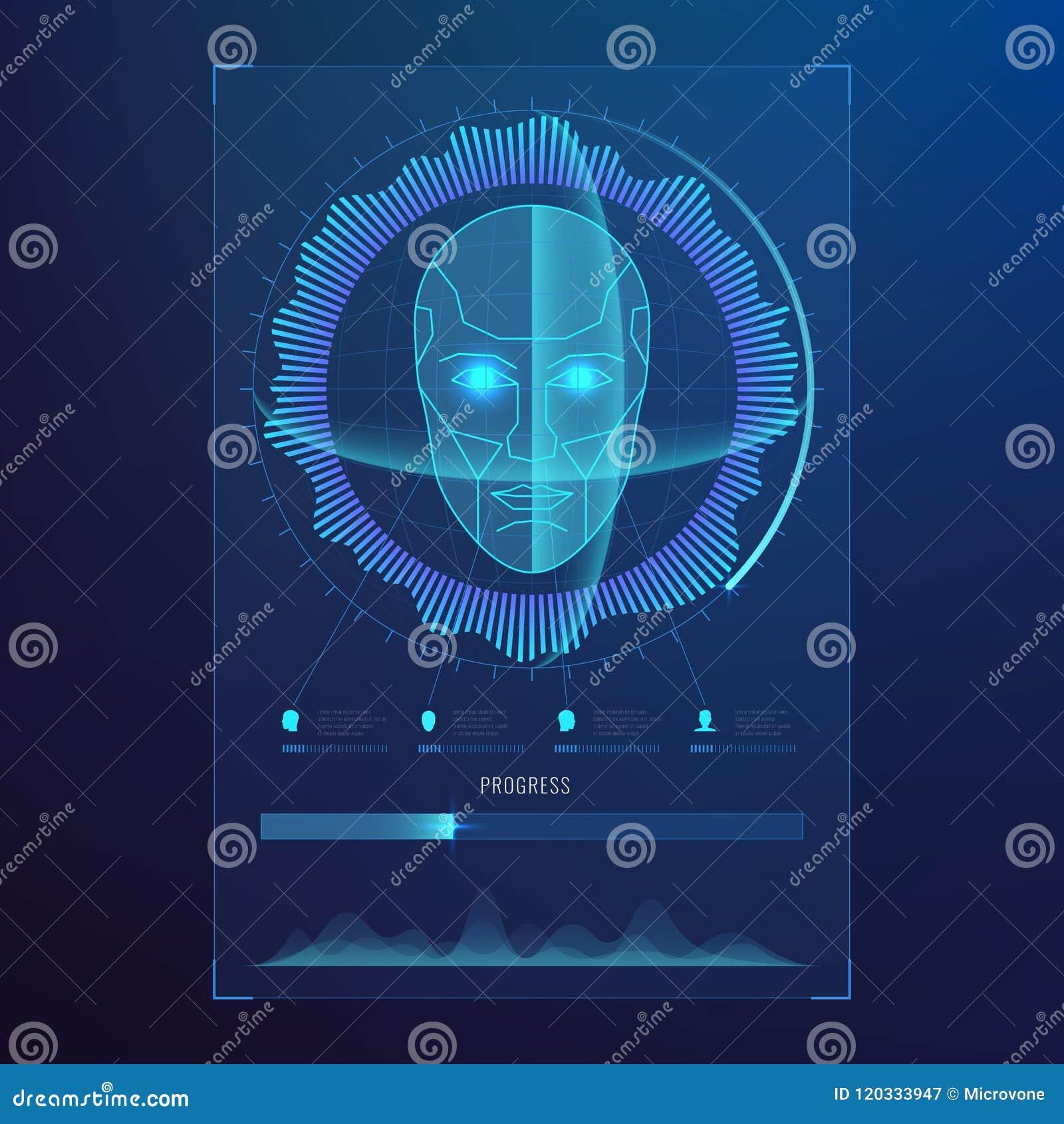Haga frente al reconocimiento digital, exploración biométrica de las caras de la identificación al fondo futurista del acceso del