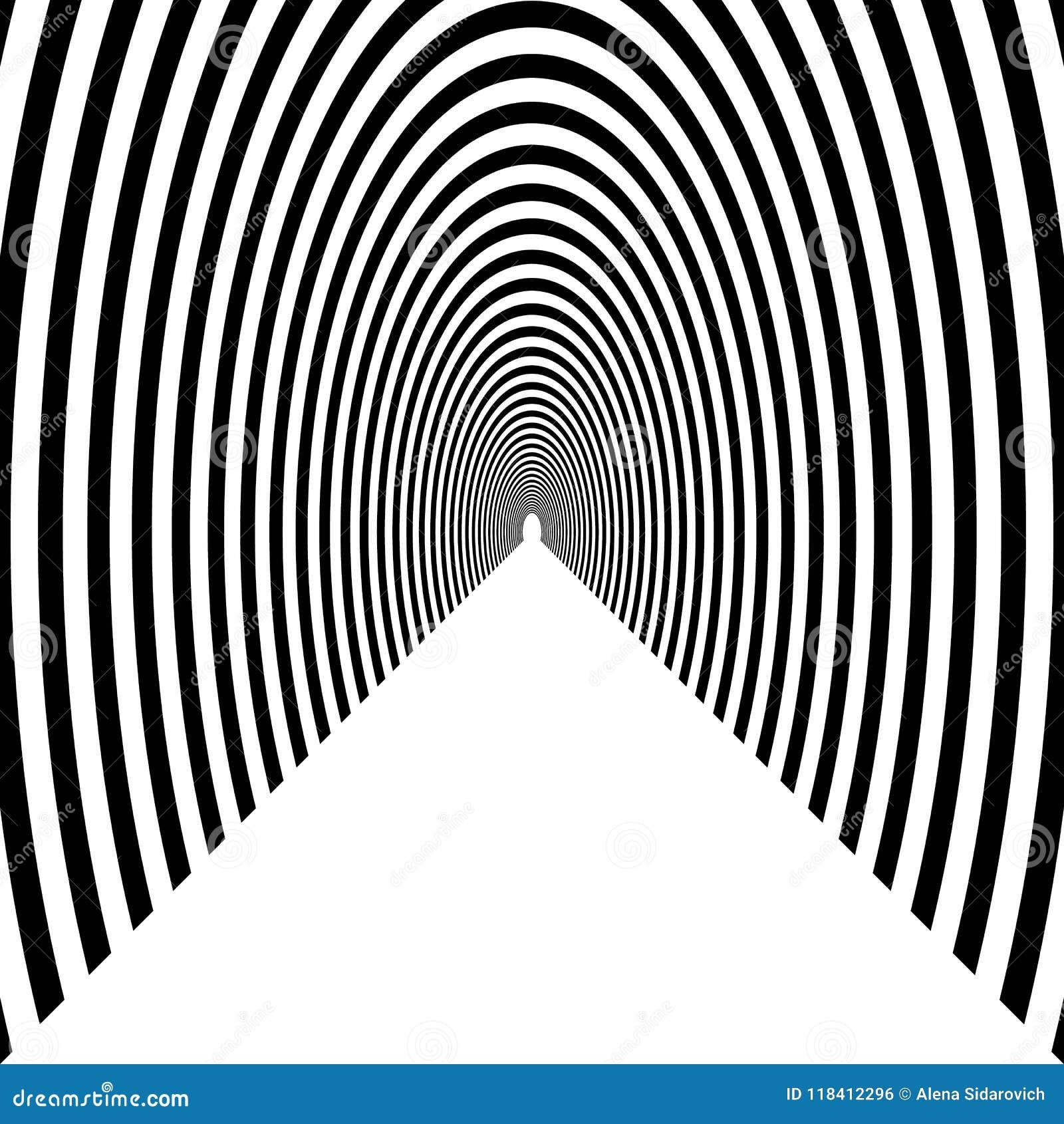 Haga un túnel, arco semicircular que se va en la distancia, negro y w