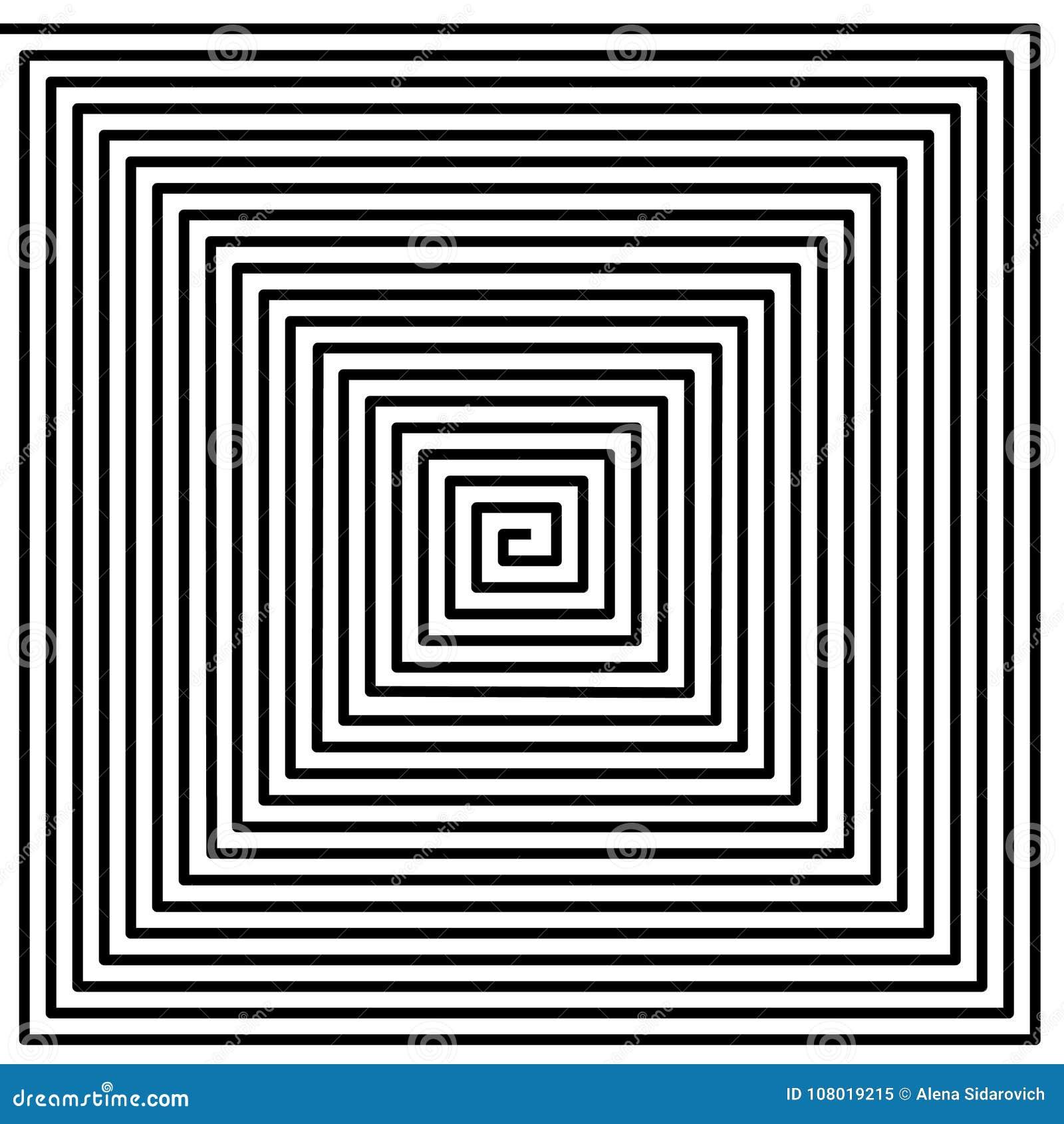 Haga un túnel, torció el espiral en el fondo blanco, modelo psicodélico