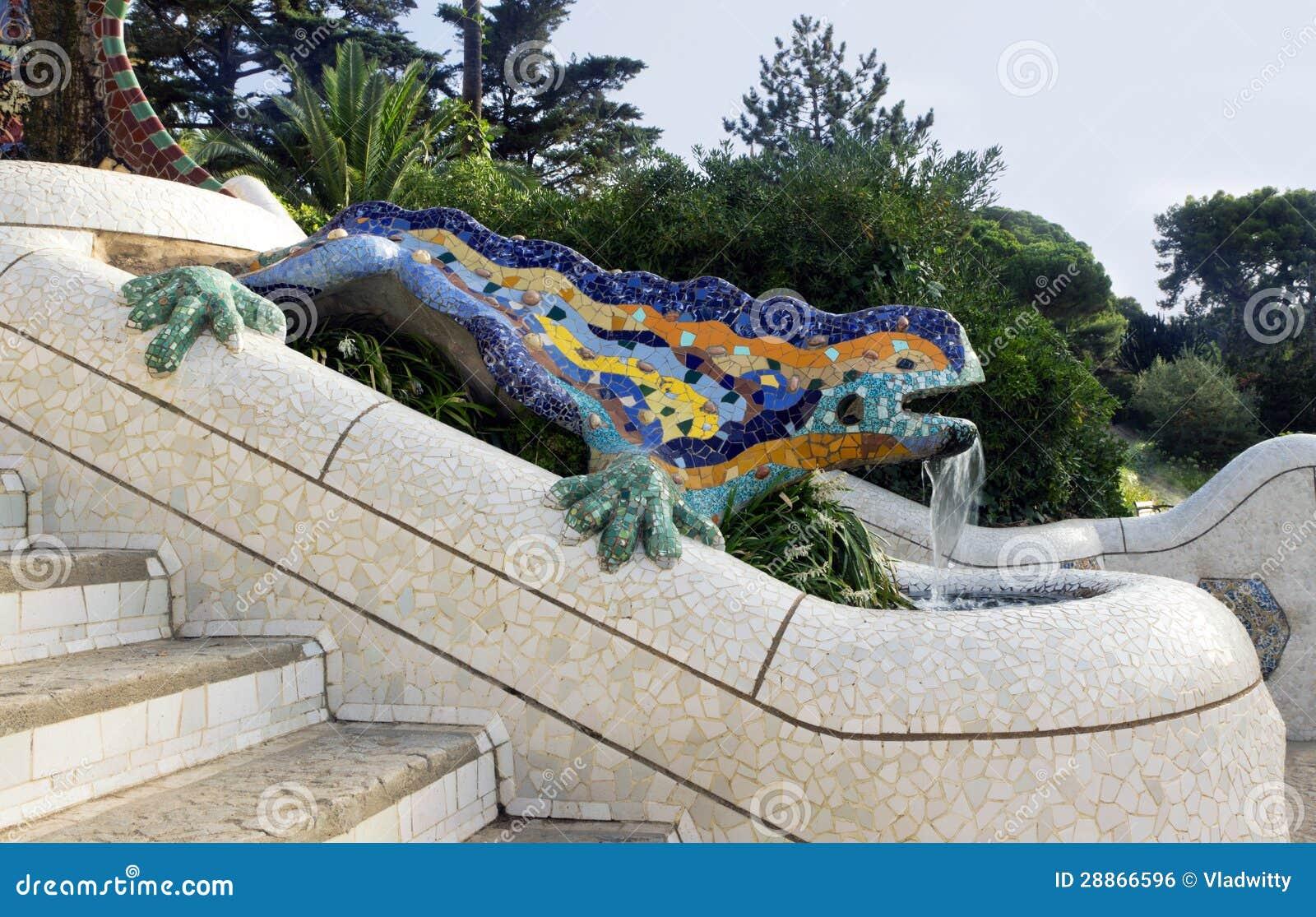 Hagedis Door Antoni Gaudi Stock Foto Afbeelding Bestaande
