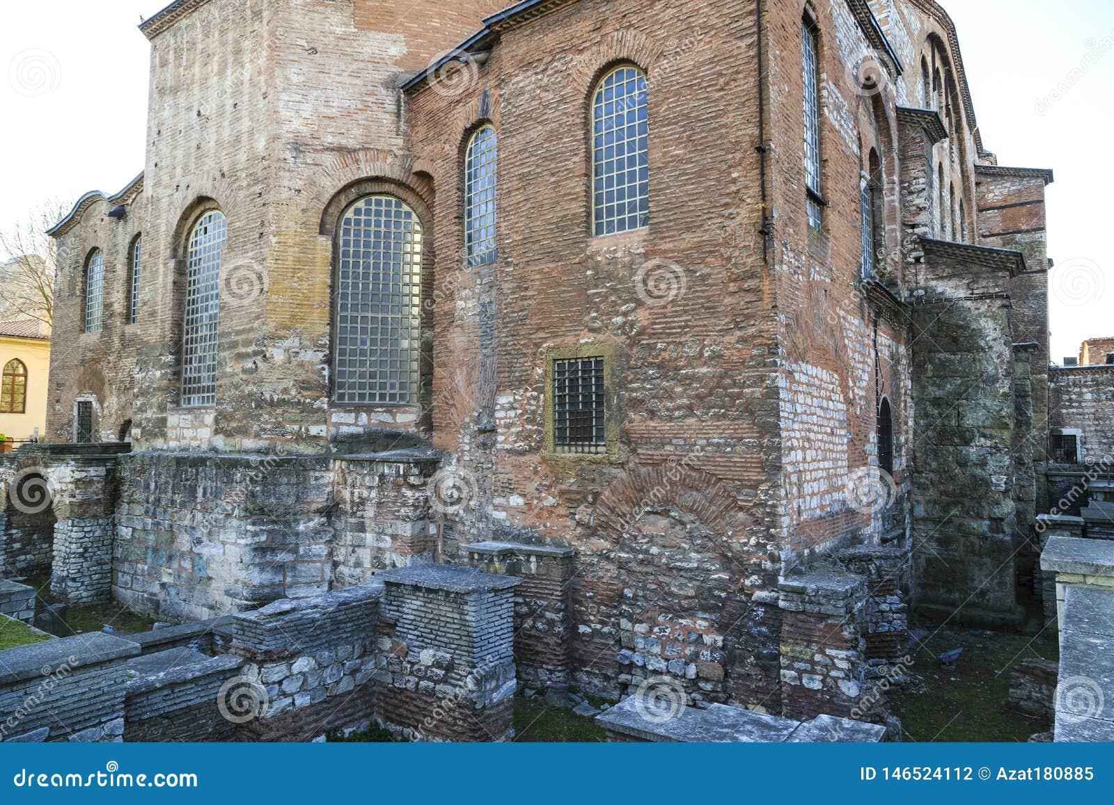 Istanbul, Turkey - 04.03.2019: Hagia Irene church Aya Irini in the park of Topkapi Palace in Istanbul, Turkey