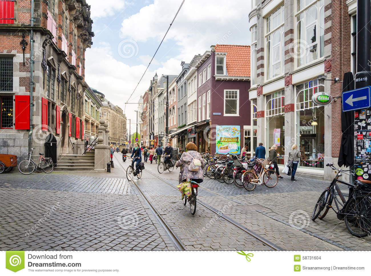 the hague netherlands may 8 2015 people shopping on venestraat shopping street in the hague. Black Bedroom Furniture Sets. Home Design Ideas