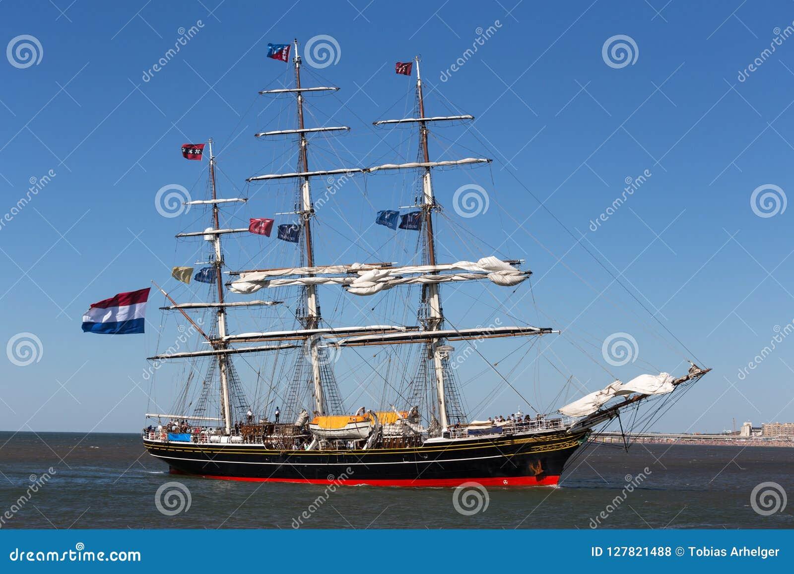 The hague, the hague/netherlands - 01 07 18: sailing ship stad amsterdam on the ocean the hague netherlands