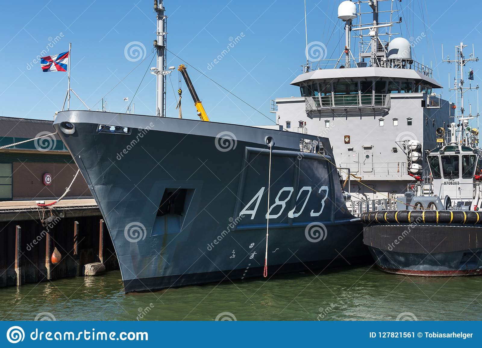 The hague, the hague/netherlands - 01 07 18: surveying ship hr ms luymes in the port of the hague netherlands