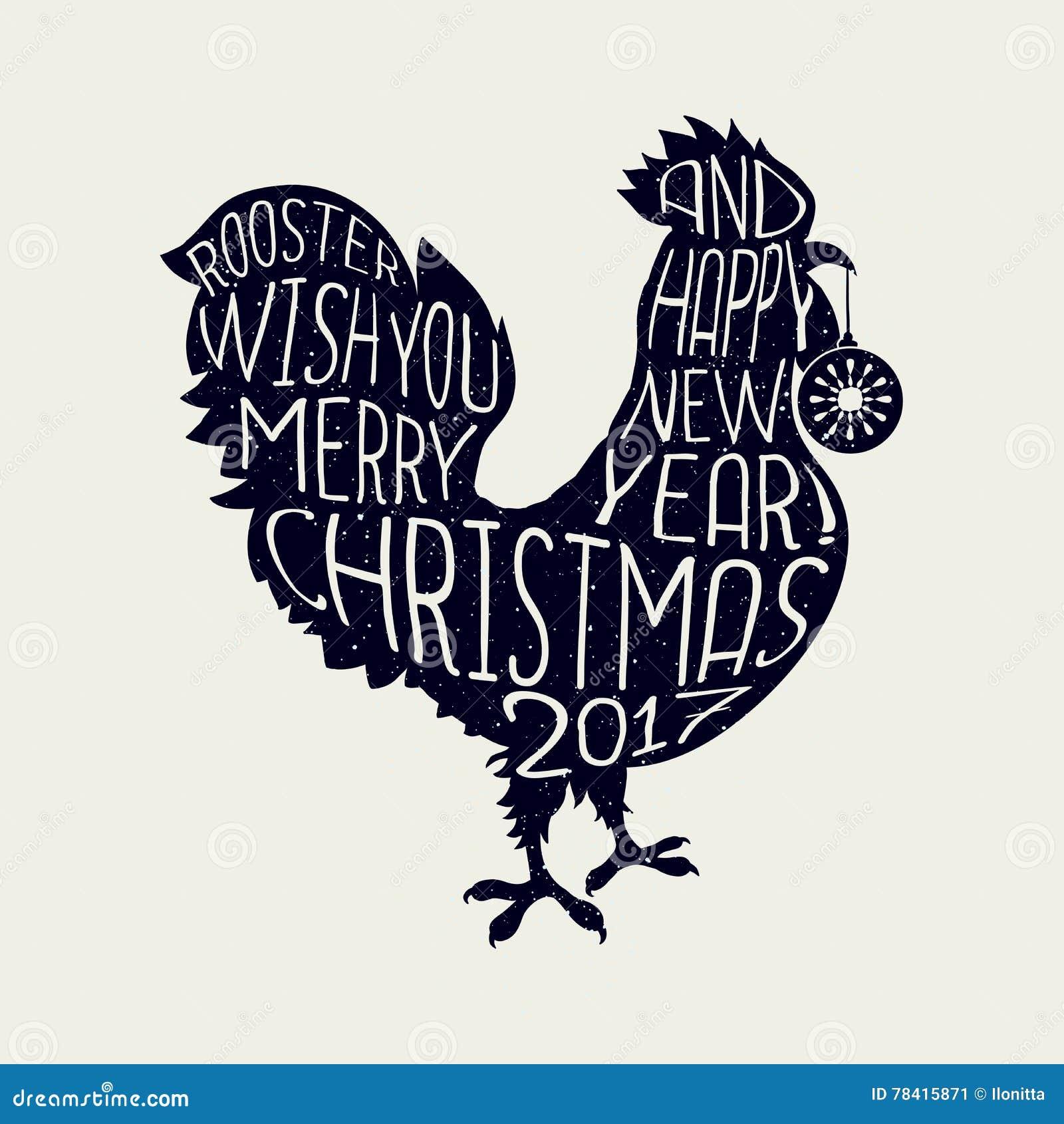 Hahnwunsch Sie Frohe Weihnachten Und Guten Rutsch Ins Neue Jahr ...
