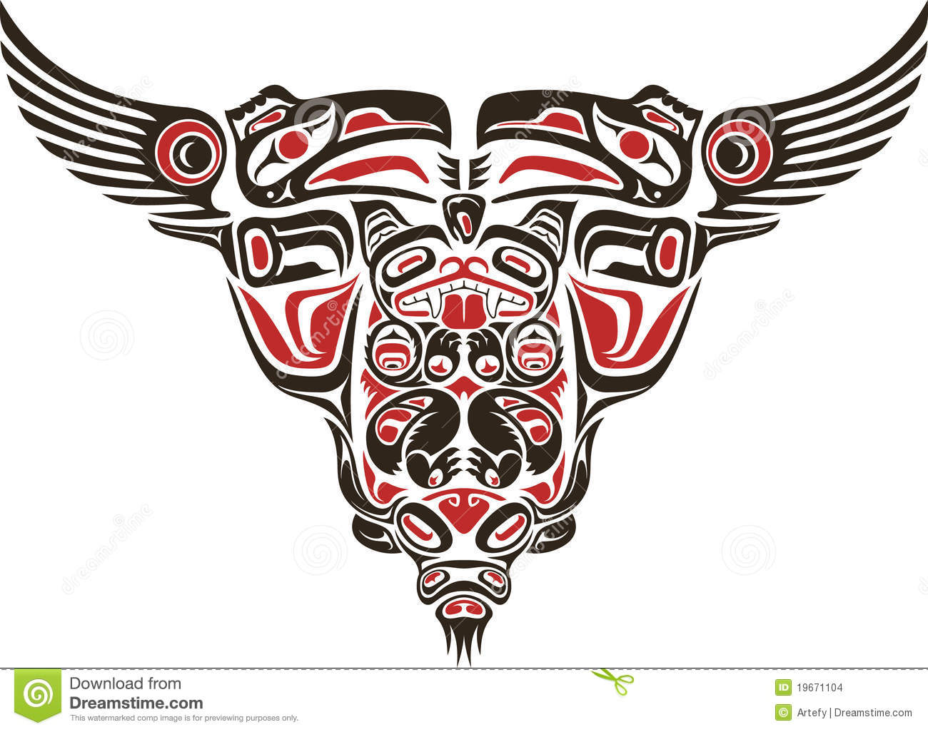 haida style tattoo design stock vector image of bull 19671104. Black Bedroom Furniture Sets. Home Design Ideas