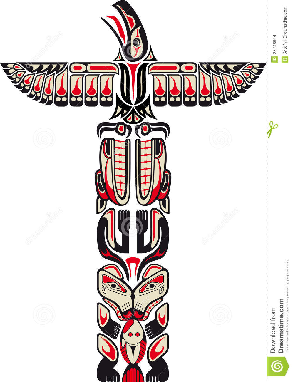 Haida Style Totem Pattern Stock Vector Illustration Of Totem 23748904