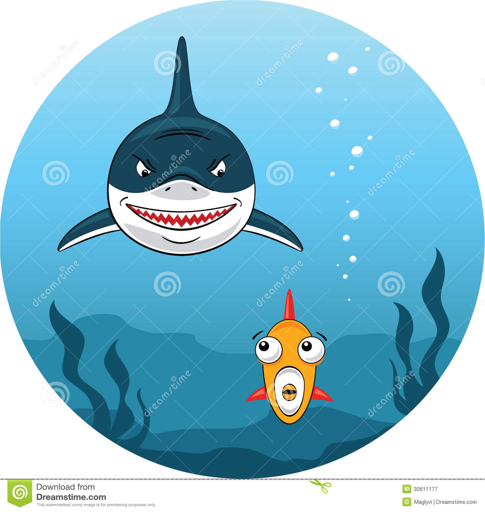 Haifischjagd für kleine Fische