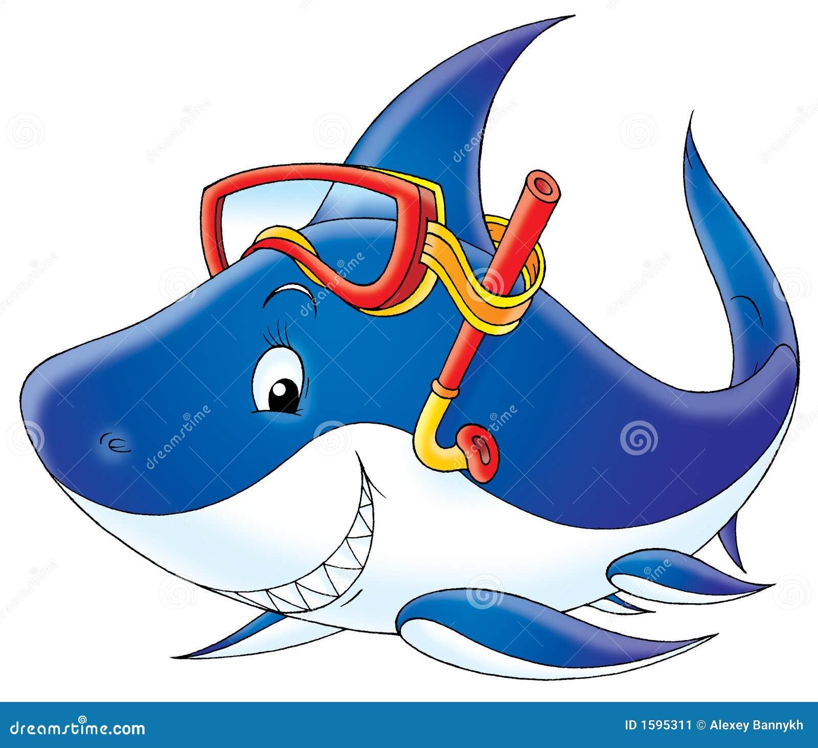 Haifischtaucher stock abbildung. Illustration von fische ...