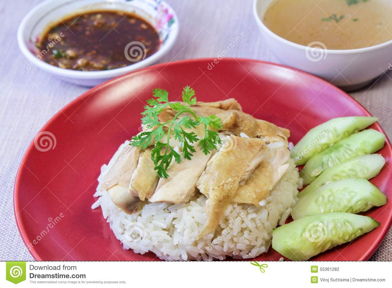 Hainanese Chicken Rice With Sauce And Soup