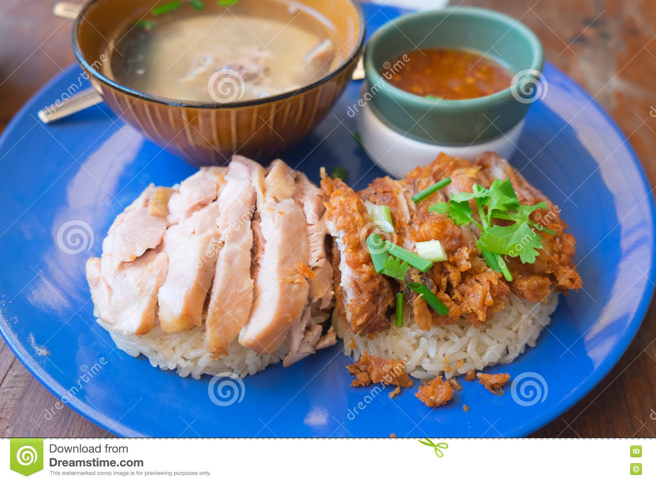 Hainanese Chicken Rice With Sauce Stock Photo