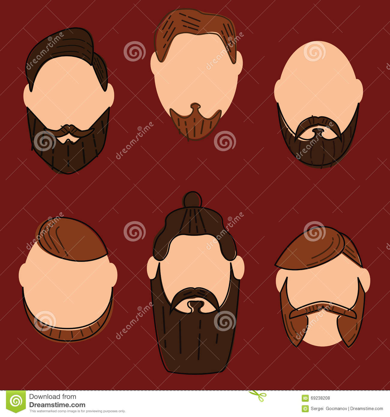 Hipster Fashion Man Hair And Beards Hand Drawn Vector Illustration Vector Illustration