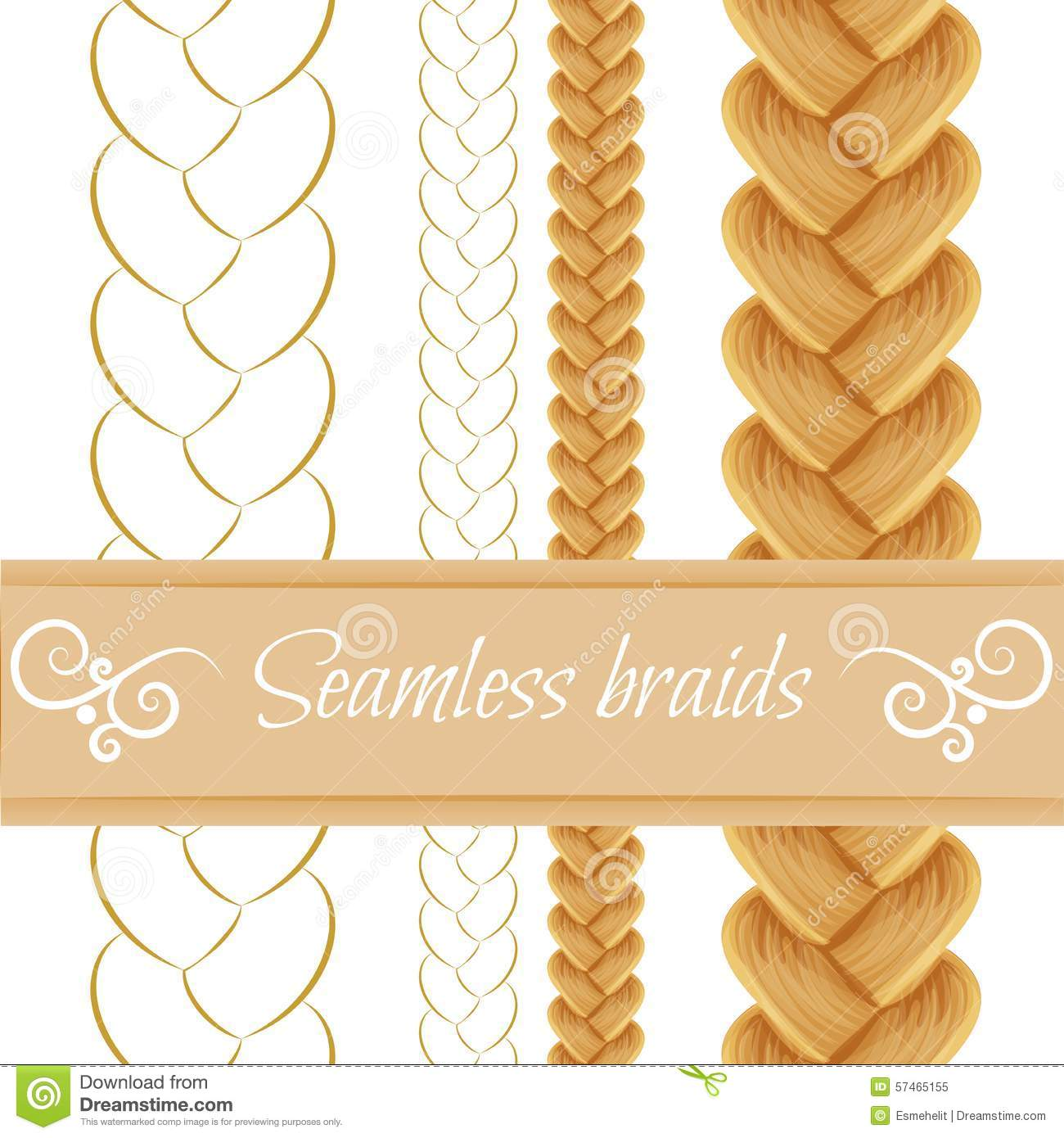 Hair Braided On White Seamless Three Stock Vector Image