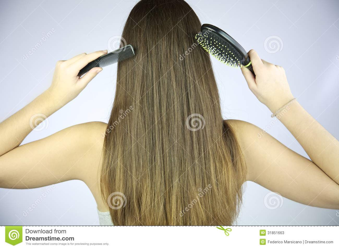 Cute brunette hairstyle hairbrush and striptease long hair - 3 part 4