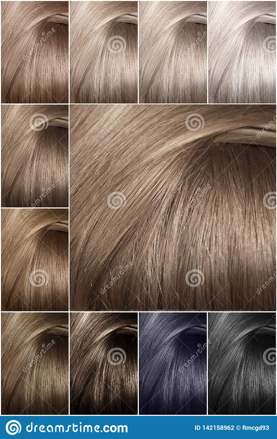 Hair Color Palette With A Wide Range Of Samples. Samples Of Colored ...