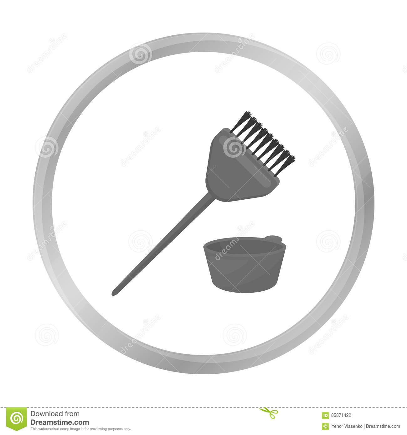 Hair Coloring Brush Icon In Monochrome Style Isolated On White ...